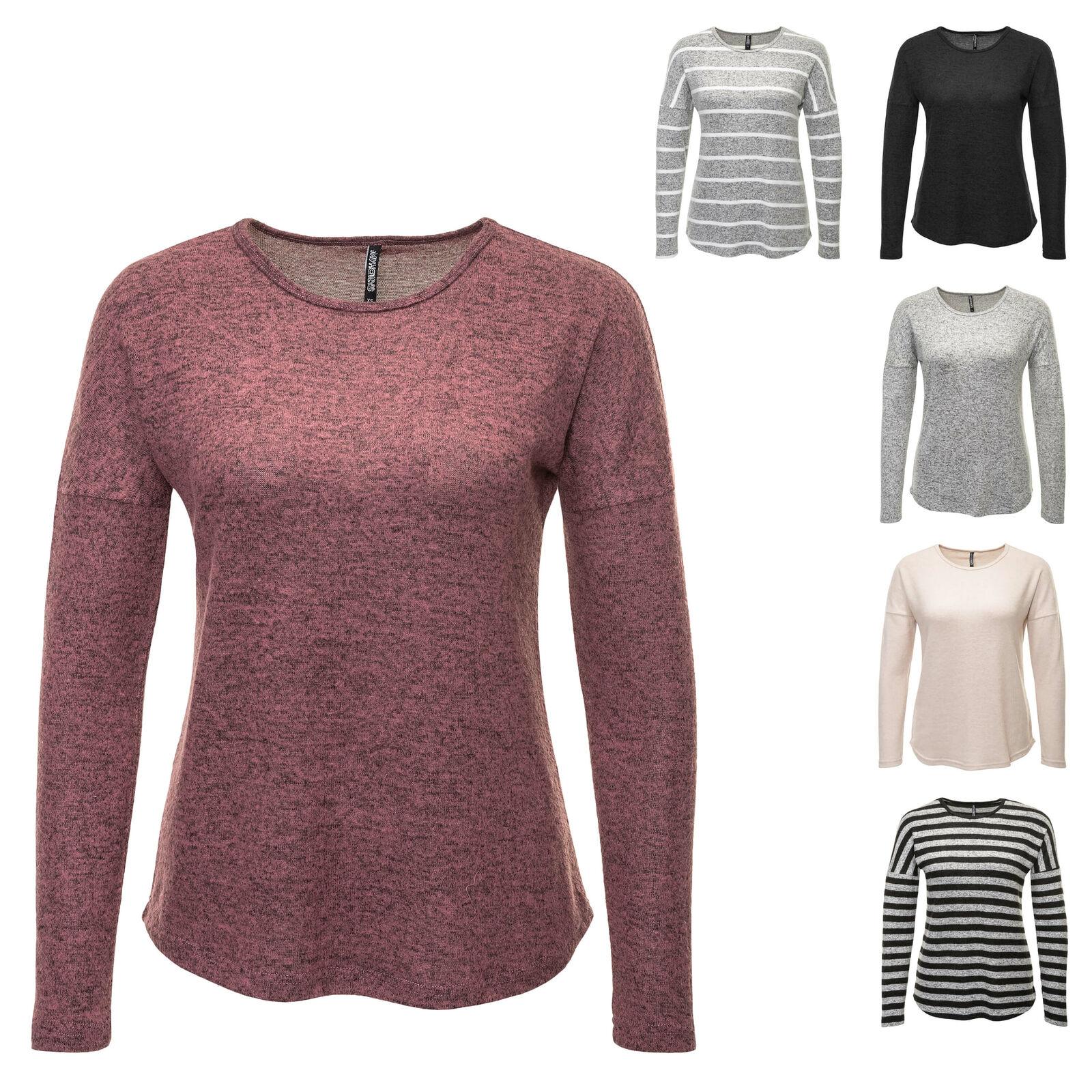 Hailys Damen Langarmshirt Longsleeve Basic Maxi Long Shirt Longshirt Feinstrick
