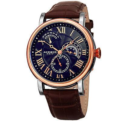 Men's Akribos XXIV AK1003RGBU Quartz 24hr Day Multifunction Brown Leather Watch
