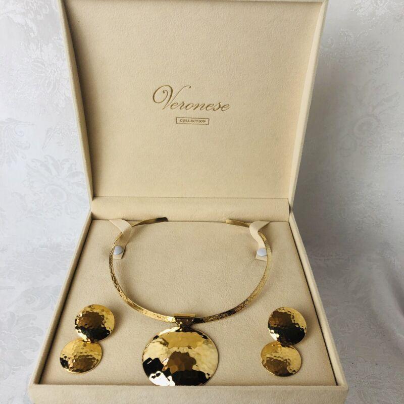 Veronese 925 Sterling 18k Gold Hammer Circle Necklace Earring Set in Velvet Box