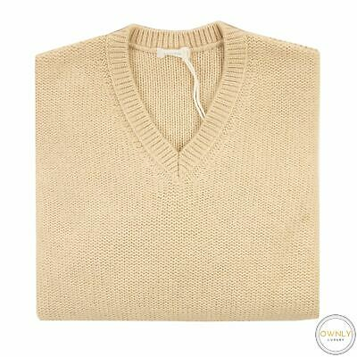 NWT Malo Firenze Tan 100% Cashmere Knit Thick Piped V-Neck Sweater 52EU/L
