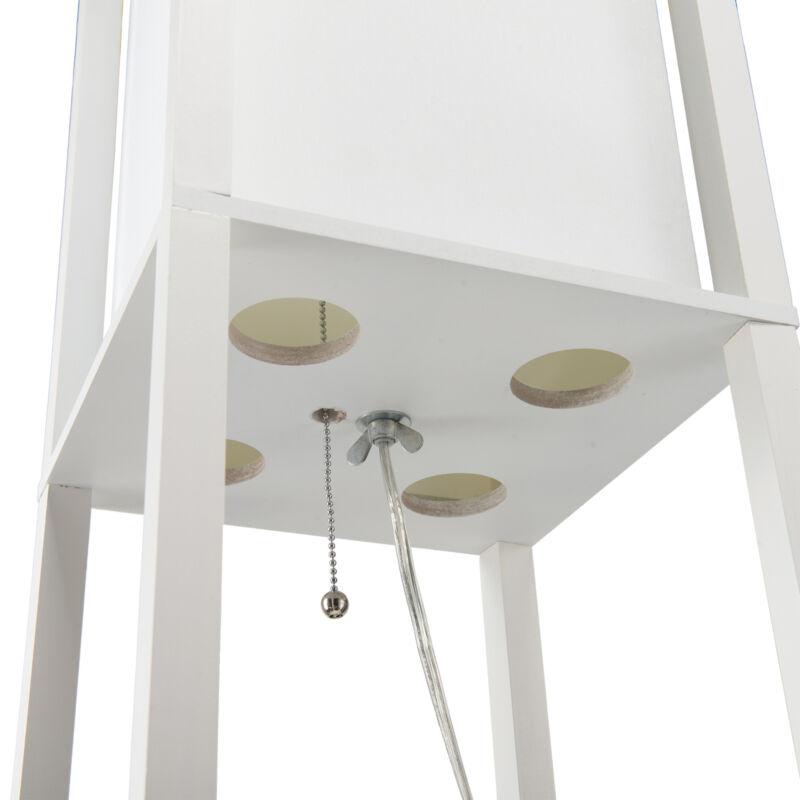 Contemporary Floor w. Shelves Fabric Shade