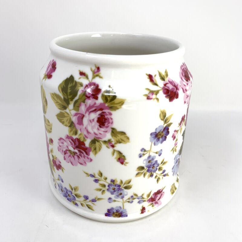 "Grace Fine Porcelain White Floral Roses 5"" Round Vase Planter"