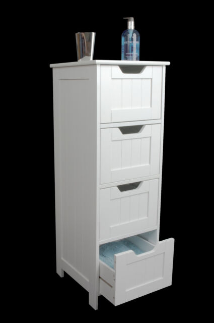SLIM White Wooden Storage Cabinet With Drawers   Bathroom,bedroom  Freestanding