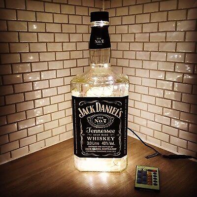 Huge 3 Litre Remote LED Jack Daniels bottle lamp light In Warm White with Box