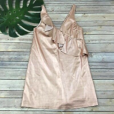 Zara Trafaluc Rose Gold Dress Size XS Ruffle Trim Sleeveless Party - Rose Ruffle Dress