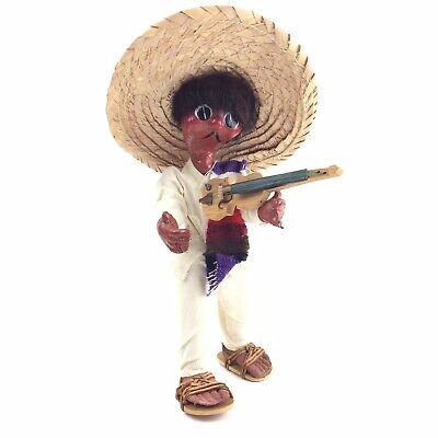 Vintage Mexican Mariachi Man Souvenir Folk Art Oil Cloth Handmade Doll 1950s - Mariachi Clothing