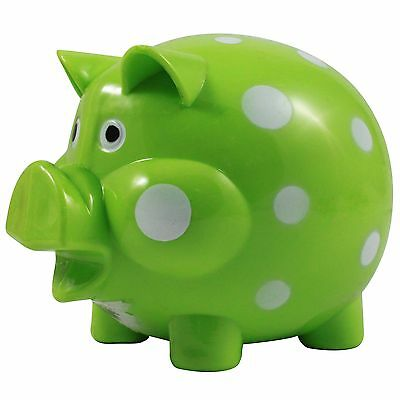 Classic Coin Saving Piggy Bank - Green Polka Dot Pig