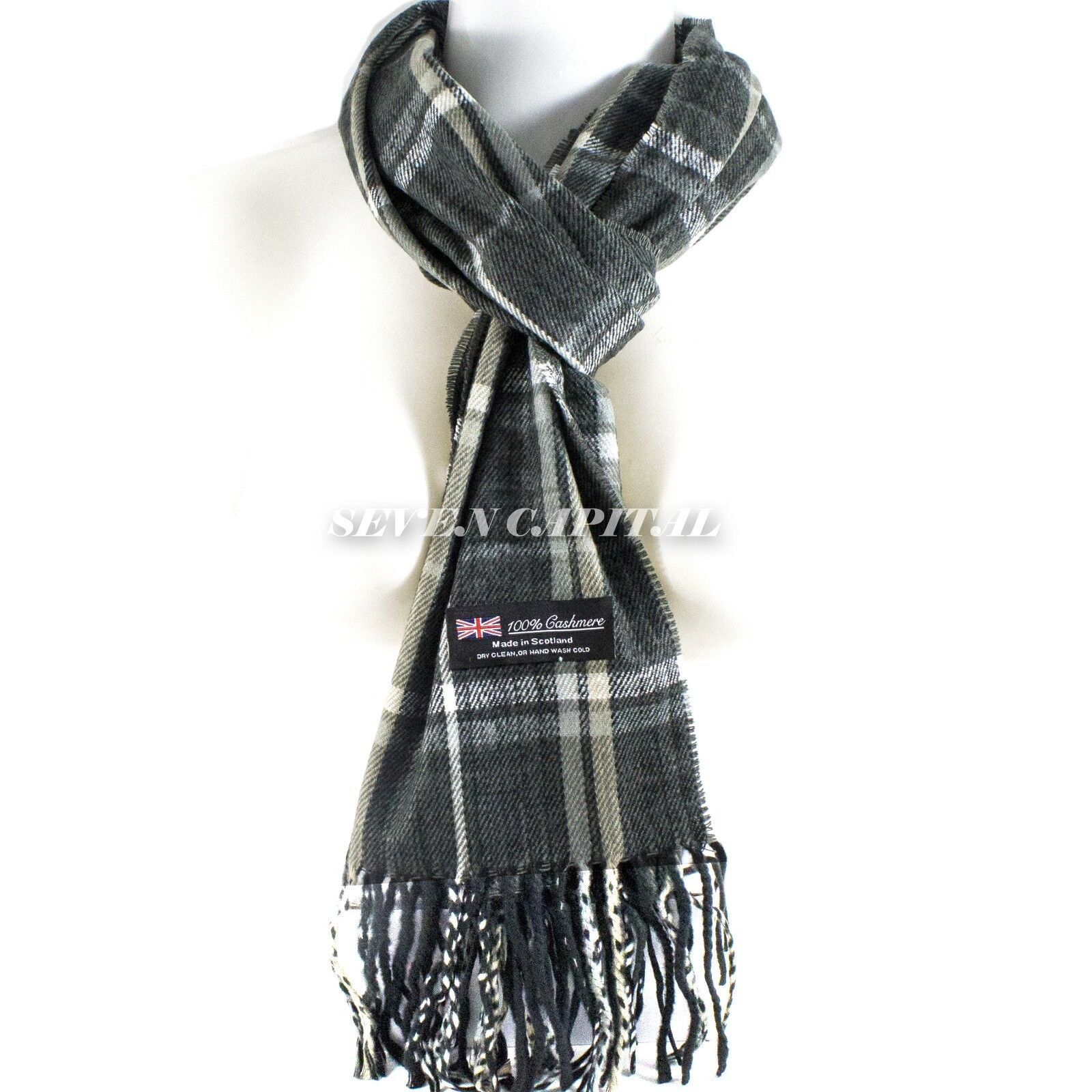 Mens Womens Winter Warm SCOTLAND Made 100% CASHMERE Scarf Scarves Plaid Wool 15. Plaid: Charcoal/Beige/White