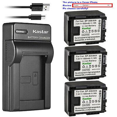 Kastar Battery Slim USB Charger for BP-809 & Canon FS100 Flash Memory Camcorder
