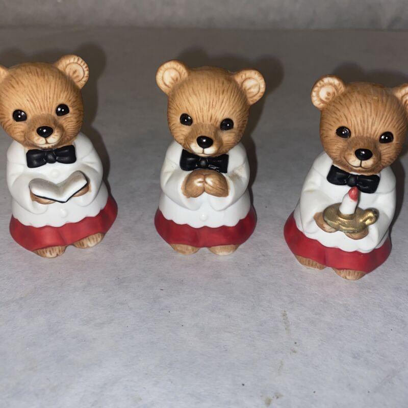 Homco Christmas Choir Bears Set of 3 with little Christmas trees