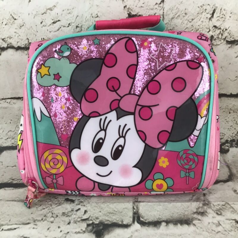 Disney Pink Minnie Mouse Lunchbox Fun Printed Zipper Thermal Cooler Bag