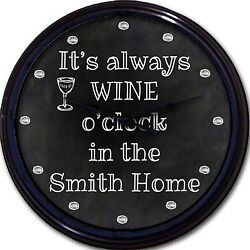 Wine o'clock Chalkboard Wall Clock Custom Personalized Wine Glass New 10