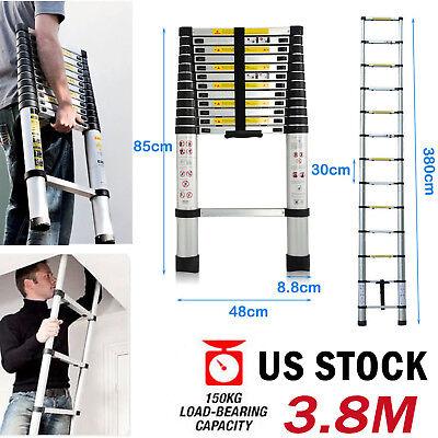 3.8m12.5ft Multi-purpose Aluminum Telescopic Ladder Extension Quality 150kg Us