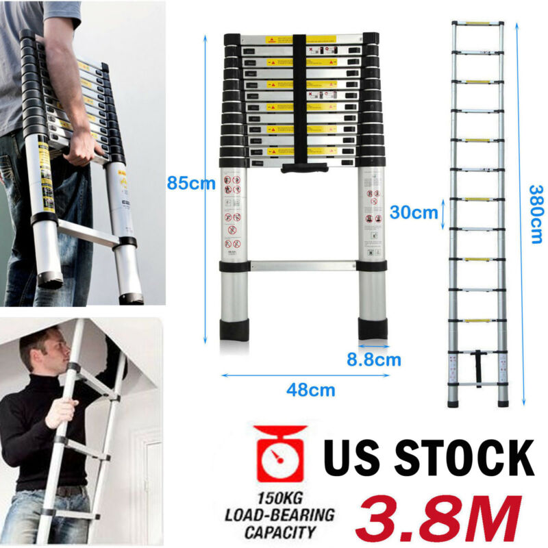 New 3.8m 12.5FT Extension Telescoping Aluminium Escalera Telescopic Ladder EN131