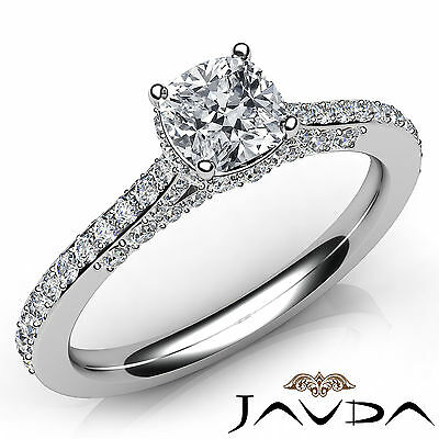 Circa Halo Bridge Accent Cushion Diamond Engagement Pave Ring GIA E VS1 1.37 Ct
