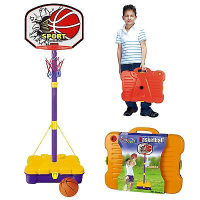 Free Standing Basketball Set Hoop Net Backboard Carry Case 161cm Childrens Kid