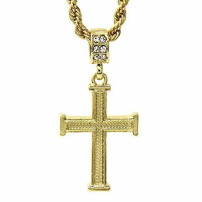 Men's 14k Gold Plated Staple Wired Cross Pendant With 4mm 24