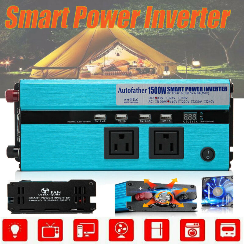 Pure Sine Wave Car Truck Power Inverter DC 12V to AC 110V Converter Charger