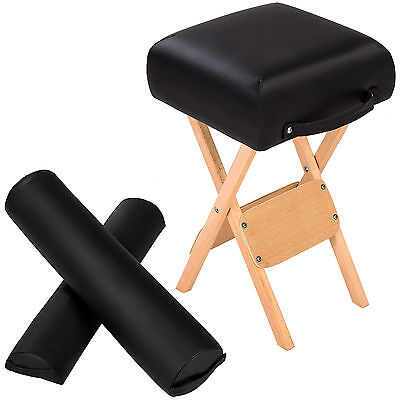 Hocker + Halbrolle + Vollrolle für Massageliege schwarz