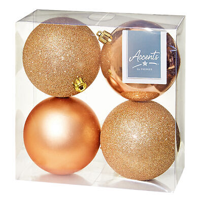 Christmas Tree Decoration 4 Pack 100mm Baubles Rose Gold For Sale Online