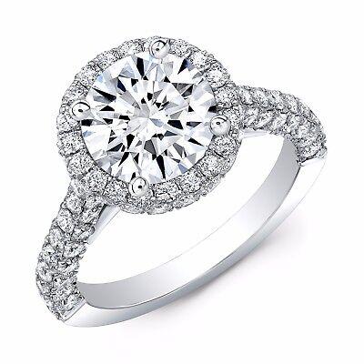 2.40 Ct Halo Round Cut Diamond 3-Row Pave Engagement Ring F,VS1 GIA 14K WG/RG 1