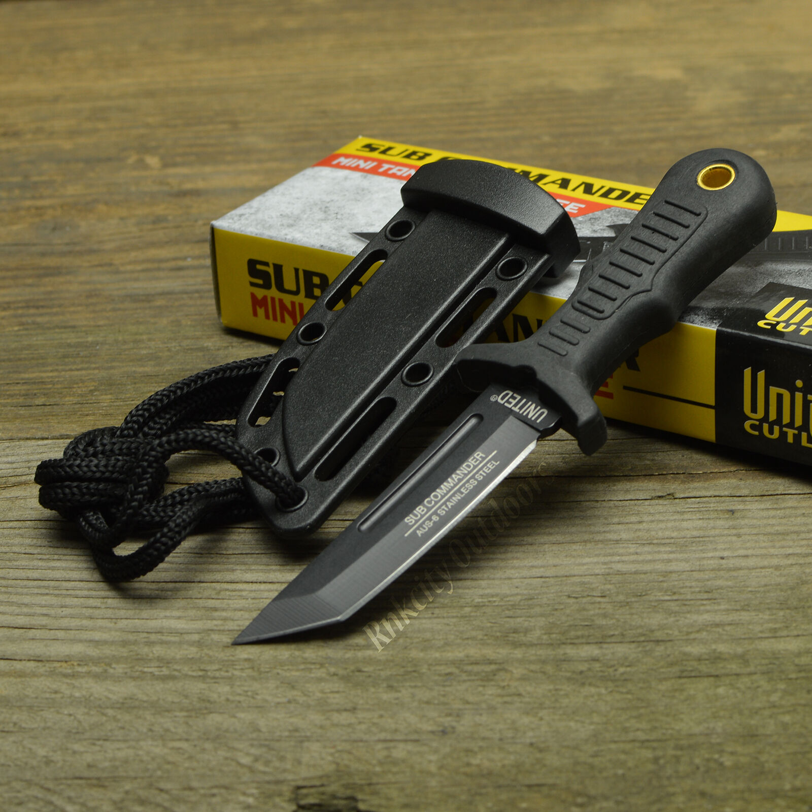 "United Cutlery Sub Commander 5"" Fixed Blade Mini Tanto Boot Knife + Sheath"