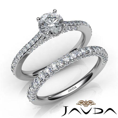 Natural Round Diamond Bridal Set Engagement Ring GIA E VS1 14k White Gold 2.15ct