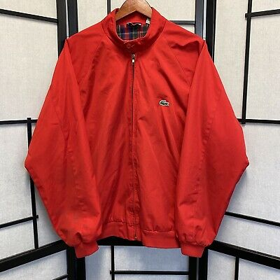 Vintage Izod Lacoste Mens XL Plaid Lined Red Harrington Jacket Croc Plaid Logo