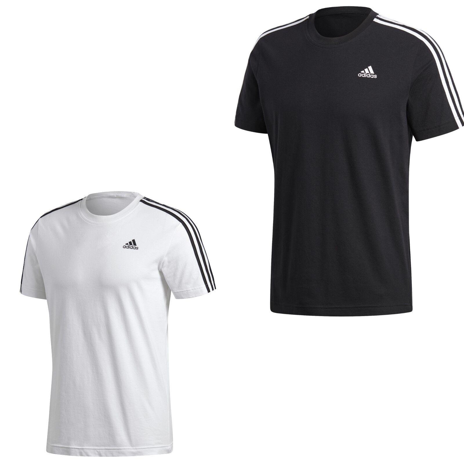 adidas Herren 3 Streifen T-Shirt Tee Herren Männer schwarz weiss S-XXL Baumwolle