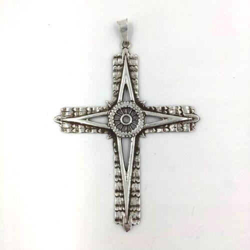 Vintage Northstar Cross Nautical Sterling Silver Pendant Large