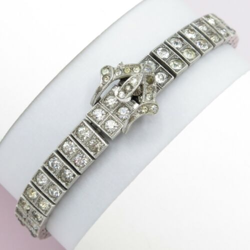 Vtg Art Deco Sterling Silver Glass Paste Buckle Signed Wachenheimer Bracelet