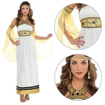 Goddess Fancy Dress Costume Roman Greek Toga Cleopatra Ladies Outfit 8-18 - Cleopatra Fancy Dress Kostüm