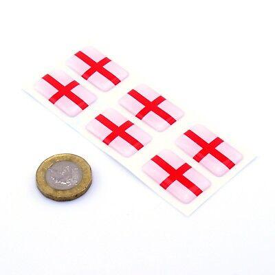 England Flag Domed Gel Stickers George Cross Car Vinyl Universal Decal 25mm x6