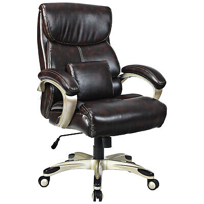 Giantex Executive Big And Tall Office Chair High Back Leather Wlumbar Support