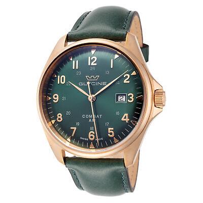 Glycine Men's GL0284 Combat 6 Classic Bronze 43mm Dark Green Dial Leather Watch