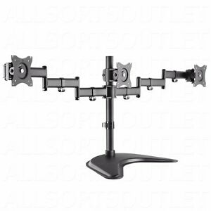 triple lcd monitor desk stand mount arm adjustable 3 screens