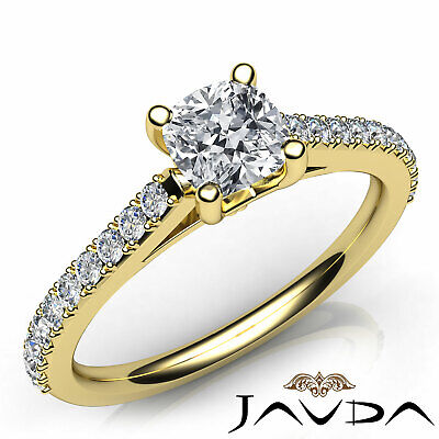 Cushion Shape French V Pave Diamond Engagement Ring GIA Certified F VVS2 1.01Ct 7