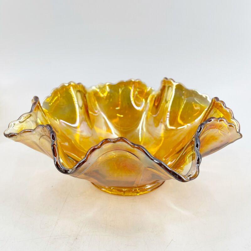 "Vintage Marigold Carnival Glass Ruffled Edge Sawtooth Candy Nut Bowl 9"""