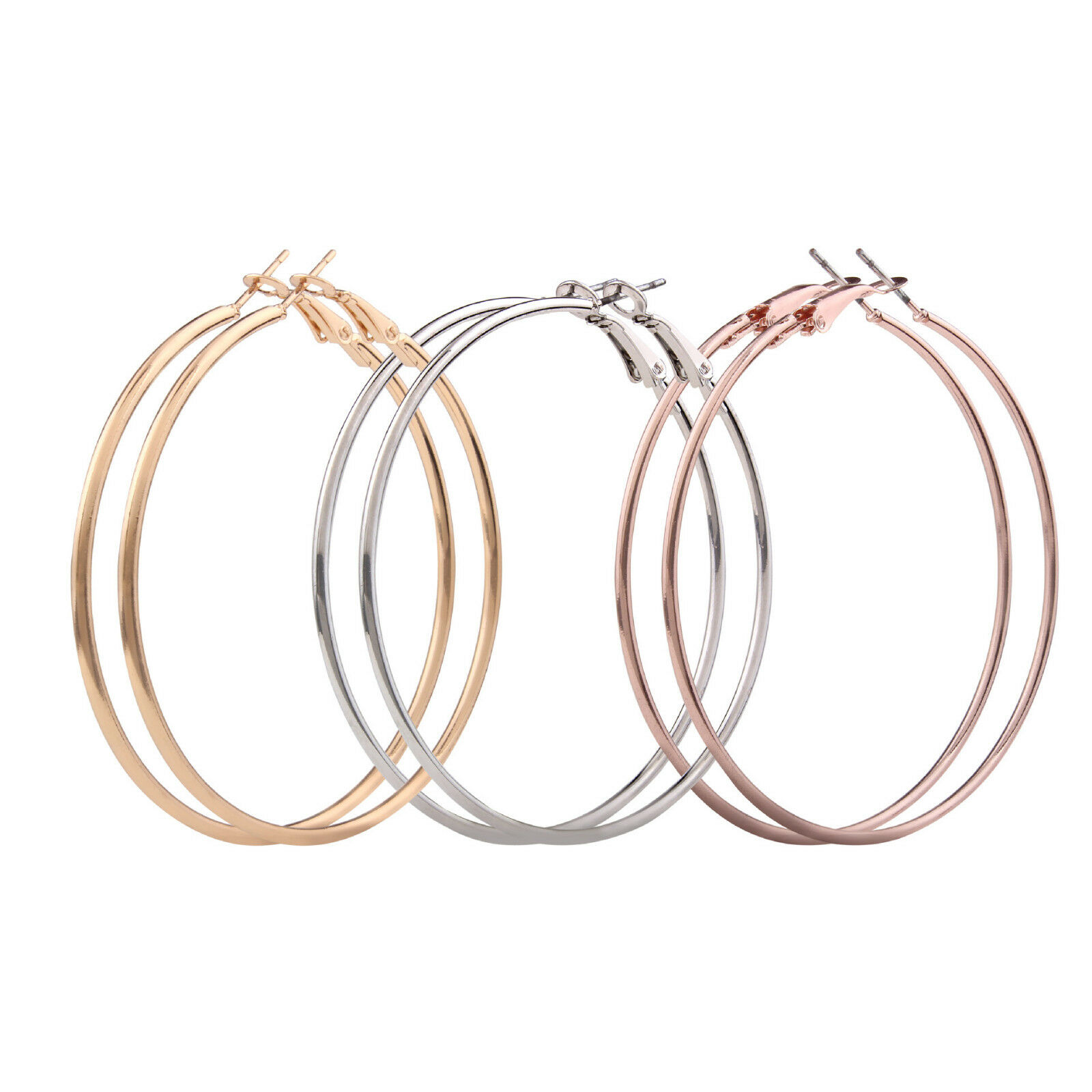 Las S Sterling Silver Gold Plated Smooth Large Hoop Earrings 4cm 9cm