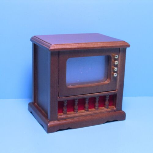 Dollhouse Miniature Wood Console Television TV in Walnut CL00090