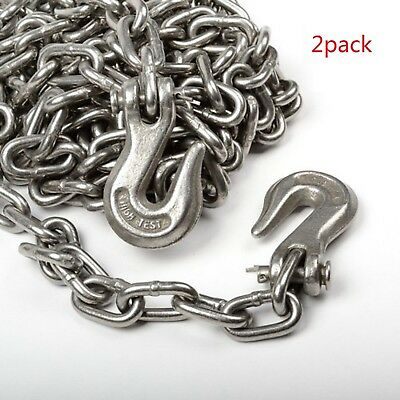 2pack 516 X 25ft Tow Chain Tie Down Binder Chain Flatbed Truck Trailer Safety