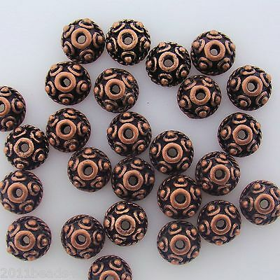 - Antique Copper Alloy Metal Round Bead Caps 50 Pieces  8mm #0811