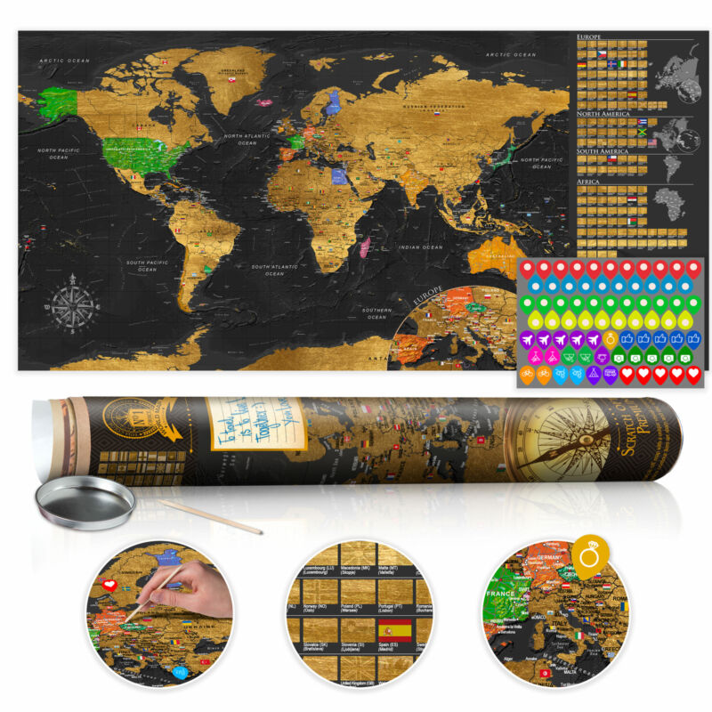 """Scratch Off World Map 39""""x17"""" Wall Poster Map for Scratching Travel k-A-0229-o-b"""