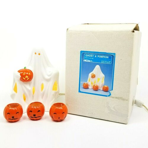 "Vintage House Of Lloyd Inc 9"" Lighted Halloween Ceramic Ghost Pumpkin In Box"