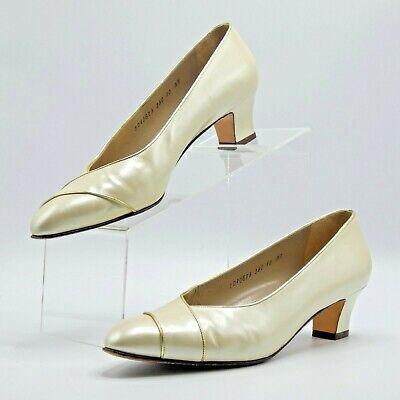 Gold Womens Pumps - Salvatore Ferragamo -Womens Leather Heels Ivory Pearl/Metallic Gold Pumps/10 AA