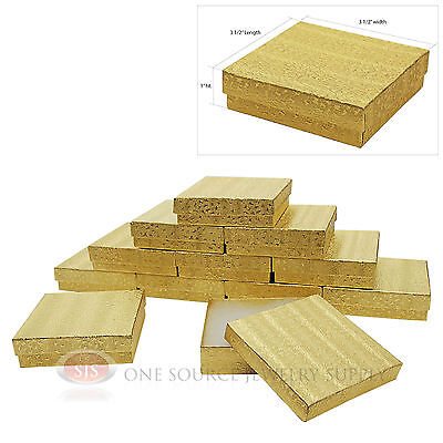 12 Cotton Filled Jewelry Gift Boxes Gold Foil Texture 3 12 X 3 12 X 1