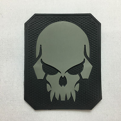 Scary Skull black morale patch badge pvc rubber hoop and loop burr tactical