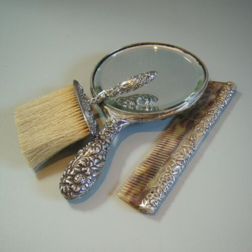 VNTG 3 PC  Repousse Floral Sterling Silver Hand Mirror + Brush + Comb 925 Marked