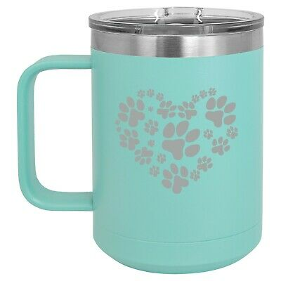 Print Insulated Travel Mug (15oz Tumbler Coffee Mug Handle  Lid Travel Cup Vacuum Insulated Heart Paw Prints)