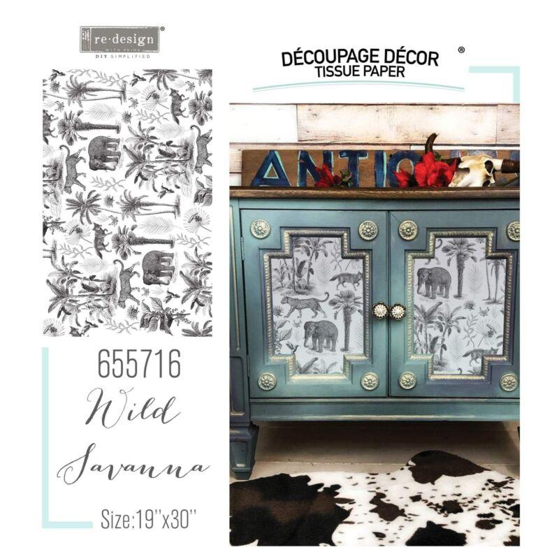 """Wild Savanna   Décor Decoupage Tissue   Redesign with Prima 19""""x30"""" Mulberry"""